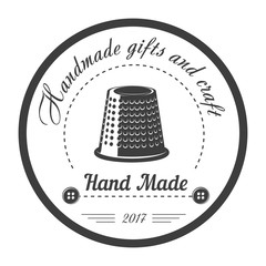 Handmade gifts and craft shop isolated monochrome emblem