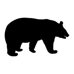 Black silhouette of running bear on white background of vector illustration