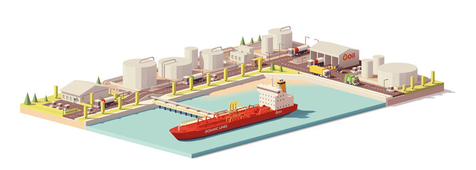 Vector low poly oil depot and oil tanker ship