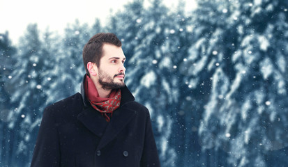 Bearded brunette man in winter, looks away on a snowy trees forest and snowflakes