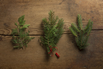Sprigs of pine and cypress for making wreaths