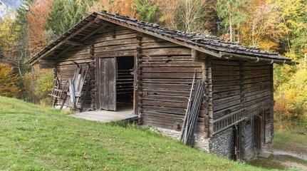 Historical barn in the alps, autumn colors, open door