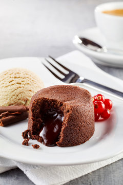 Chocolate lava cake with ice cream in close up