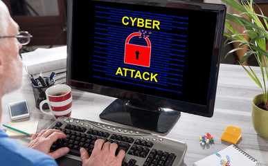 Cyber attack concept on a computer