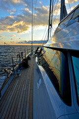 detail of deck of luxury sailing yacht at the sunset