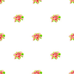 Seamless pattern with yellow lily