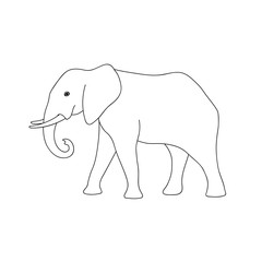 Isolated black outline monochrome elephant on white background. Curve lines. Page of coloring book. Side view.