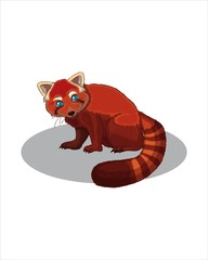 Cute red panda-vector drawing-isolated white background
