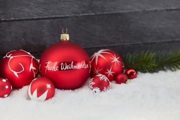 Weihnachtskarte mit Frohe Weihnachten Text