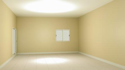 3D illustration ivory empty room