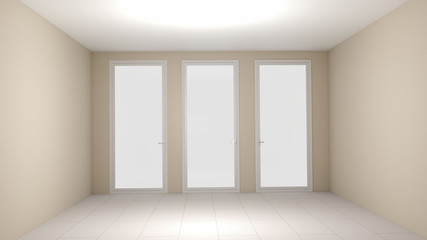 3D illustration ivory empty room
