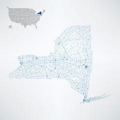 New York State / USA telecommunication map concept