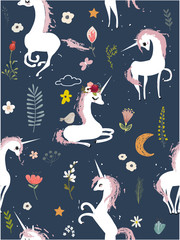 Seamless pattern with cartoon unicorns and flowers