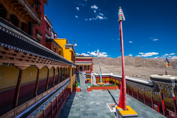 Thiksay Monastery, The largest gompa in central Ladakh located on top of a hill in Thiksey village  east of Leh in India