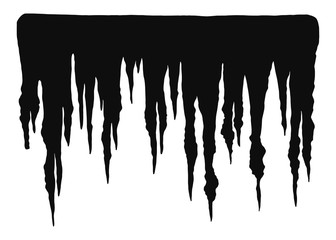 stalactites cave in isolation. cartoon vector black silhouettes