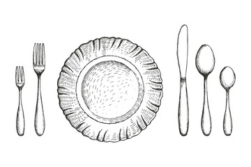 Plate dining room with fork spoons and knife vector sketch. cutlery set. handmade isolated vintage drawing on white background