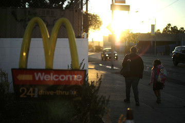 The logo of a McDonald's Corp restaurant is seen in Los Angeles
