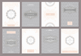 Vintage creative cards template with beautiful flourishes ornament elements. Elegant design for corporate identity, logo, invitation, book covers. Design of background products.