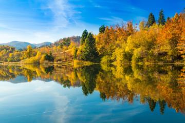 Beautiful autumn landscape, Mrzla vodica lake and Risnjak mountain, Gorski kotar, Croatia