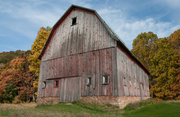 Rustic Barn in Autumn:  Trees in fall colors surround a weathered barn in southern Wisconsin.