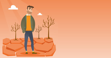 Caucasian man standing in the desert. Frustrated young man standing on cracked earth in the desert. Concept of climate change and global warming. Vector flat design illustration. Horizontal layout.