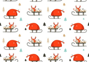 Hand drawn vector abstract fun Merry Christmas time cartoon illustration seamless pattern with french bulldog in deer costume on sleigh and Santa Claus bag isolated on white background
