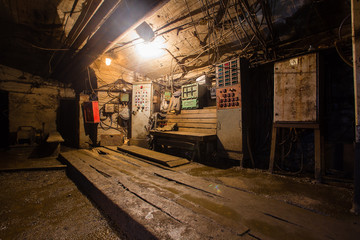 Underground mine shaft iron copper gold ore tunnel gallery with light