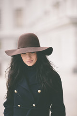 woman with hat .