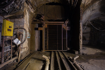 Underground mine shaft iron ore tunnel landing