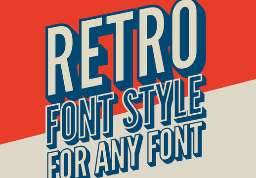 Skewed Retro 3D Text Style