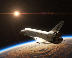 Fototapete - Space Shuttle On The Background Of Rising Sun