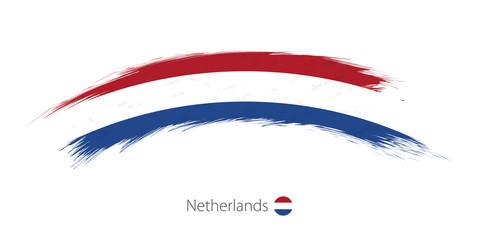 Flag of Netherlands in rounded grunge brush stroke.