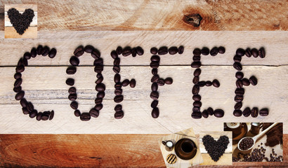 Coffee sign / banner -  word with coffee beans on a warm rustic background, with design space.
