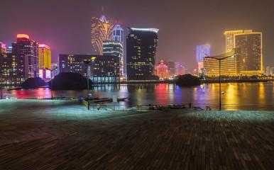 Macau Skyline Panorama bei Nacht