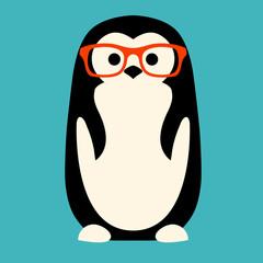penguin in glasses vector illustration flat style