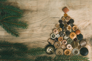 Christmas tree made with buttons
