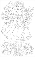 Black and white page for coloring. Drawing of beautiful little Russian fairy. Worksheet for children and adults. Vector image.