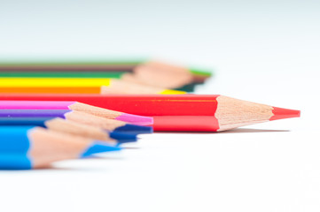 Colorful pencils close up shot.