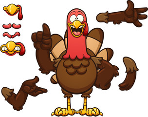 Cartoon turkey. Vector clip art illustration with simple gradients. Some elements on separate layer.