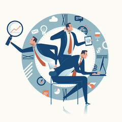 Multitasking. Multi-tasking manager. Business concept illustration.