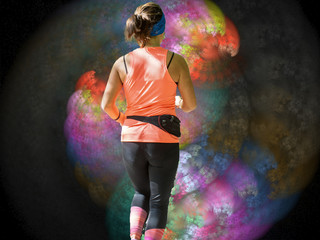 young woman walking into colorful space