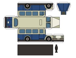 Paper model of a vintage blue bus