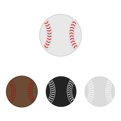 Baseball ball set. Softball. Vector silhouettes of a baseball balls. Vector icons isolated on white background. Flat vector collection.