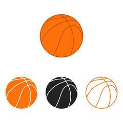 Basketball ball set. Vector silhouettes of a basketball balls. Vector icons isolated on white background. Flat vector collection.