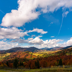 gorgeous cloudscape over the mountains. beautiful countryside landscape in autumn