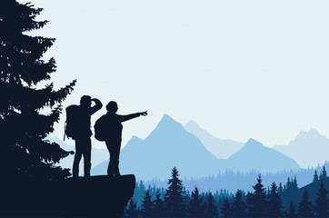 Vector illustration of a mountain landscape with a forest and two tourists, man and woman with backpacks showing his hand and looking into the distance