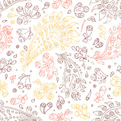 Embroidered seamless pattern. Black and white complex ornament. Handmade. Print in the patchwork style. Vector illustration.
