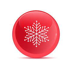 Red button with the image of snowflakes