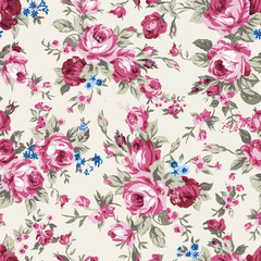 Vintage chintz roses seamless pattern