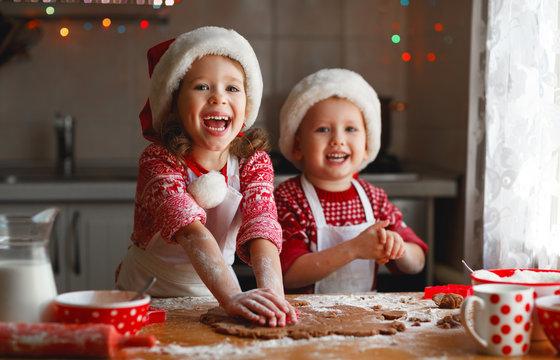 happy children bake christmas cookies